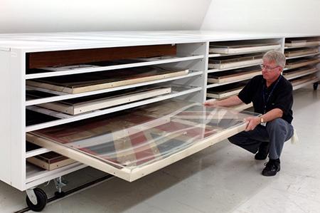 Flat file drawer museum storage