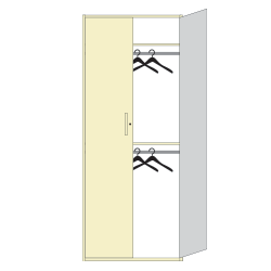 Athletic hanging storage on shelves with doors