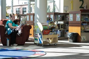 Library Storage - collaborative space created by high density shelving at Uintah County Library
