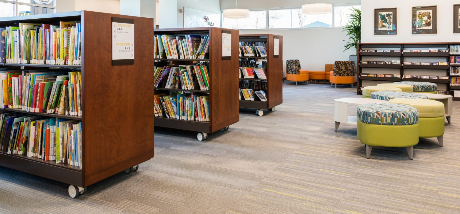 library shelving with casters at the marmalade library
