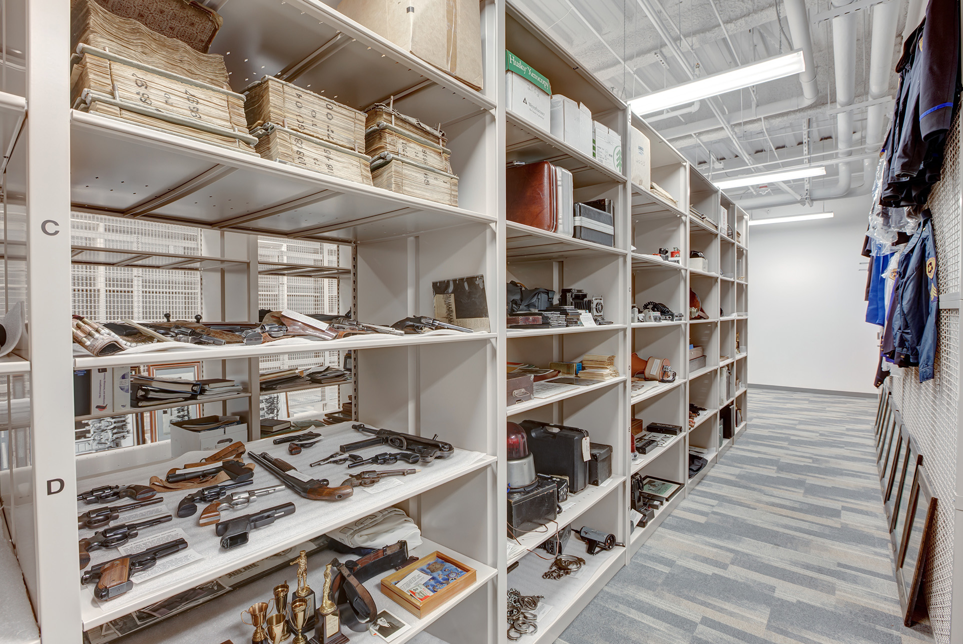 Gun Storage and Archival Storage on Metal Shelving