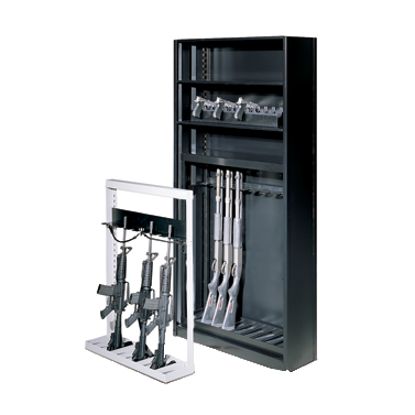 Weapons storage racks for shelving systems
