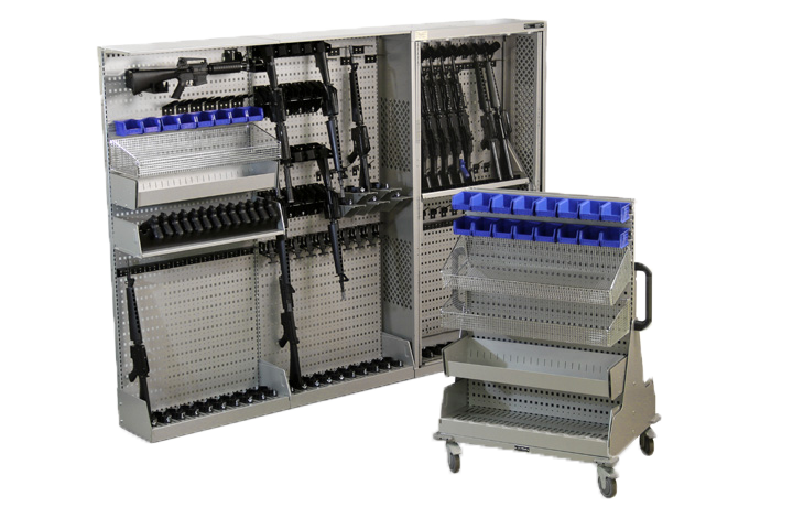 Weapons stored on back panels for modular storage