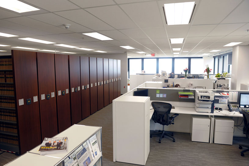 electric high-density mobile shelving law firm