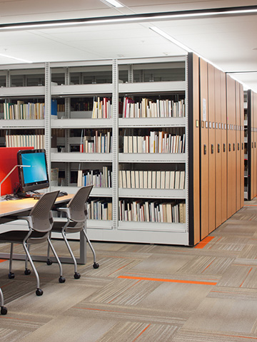 Library Storage - high-density shelving, compact shelving, library storage