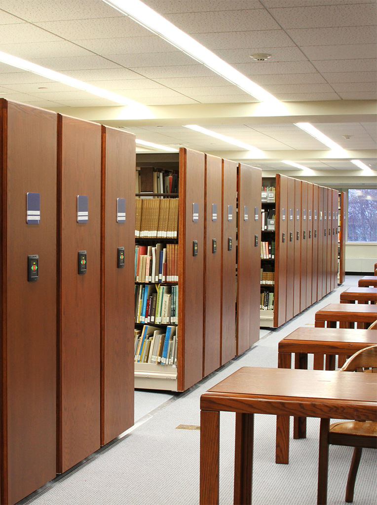Library Storage - High-density library shelving, shelves that move, compact shelving
