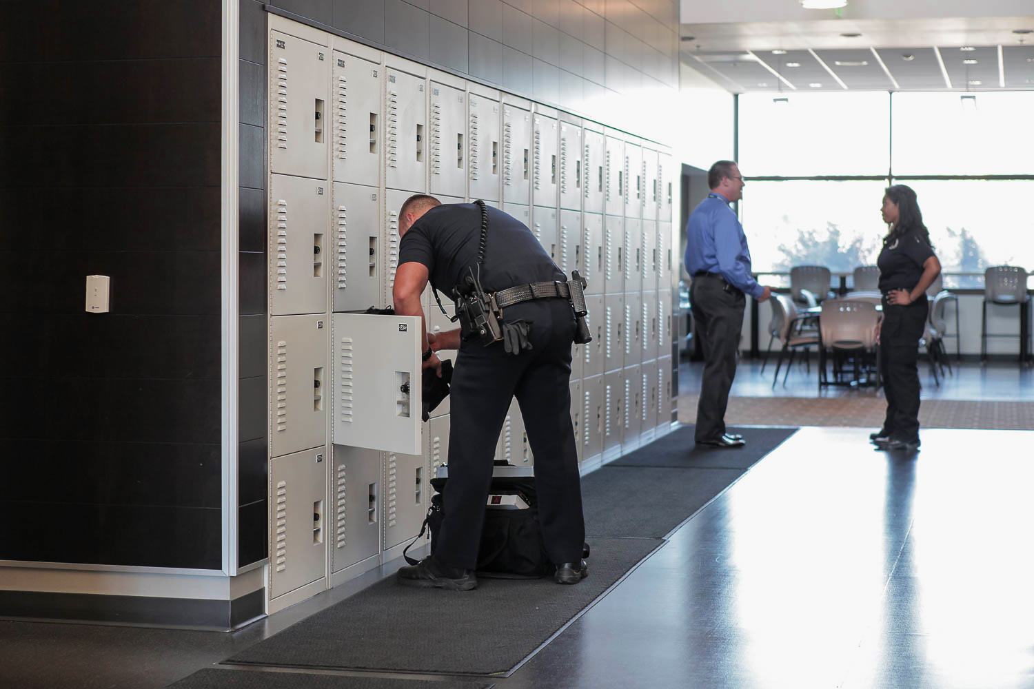Gear bag storage locker at police department