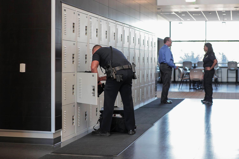 Gear bag storage locker at police department