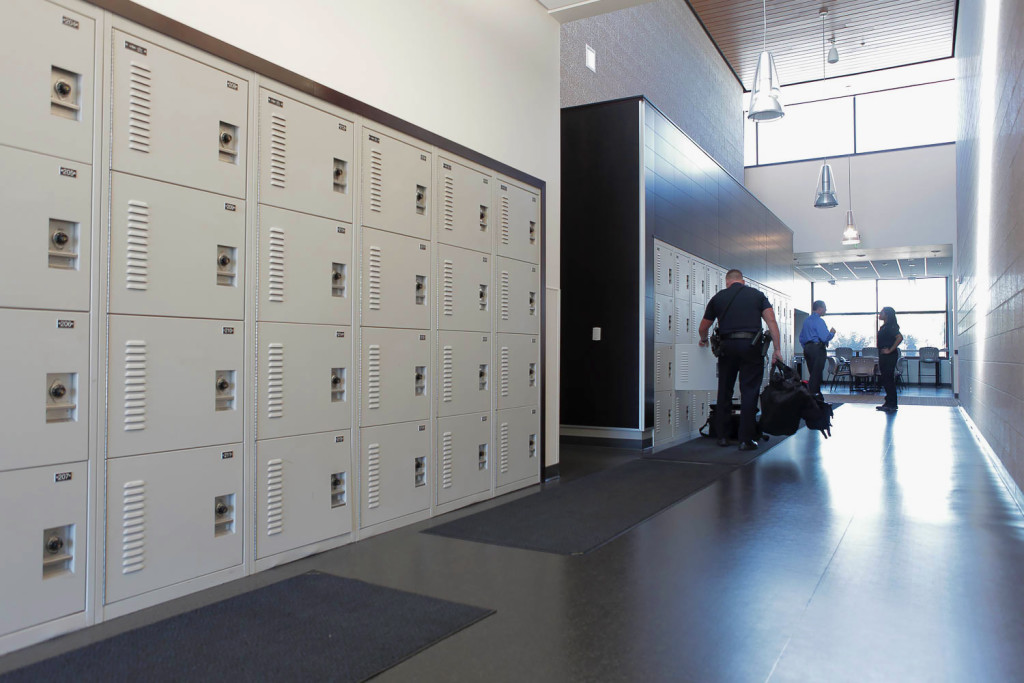 Public Safety Storage - 4 tier gear lockers at Skoki Police Department