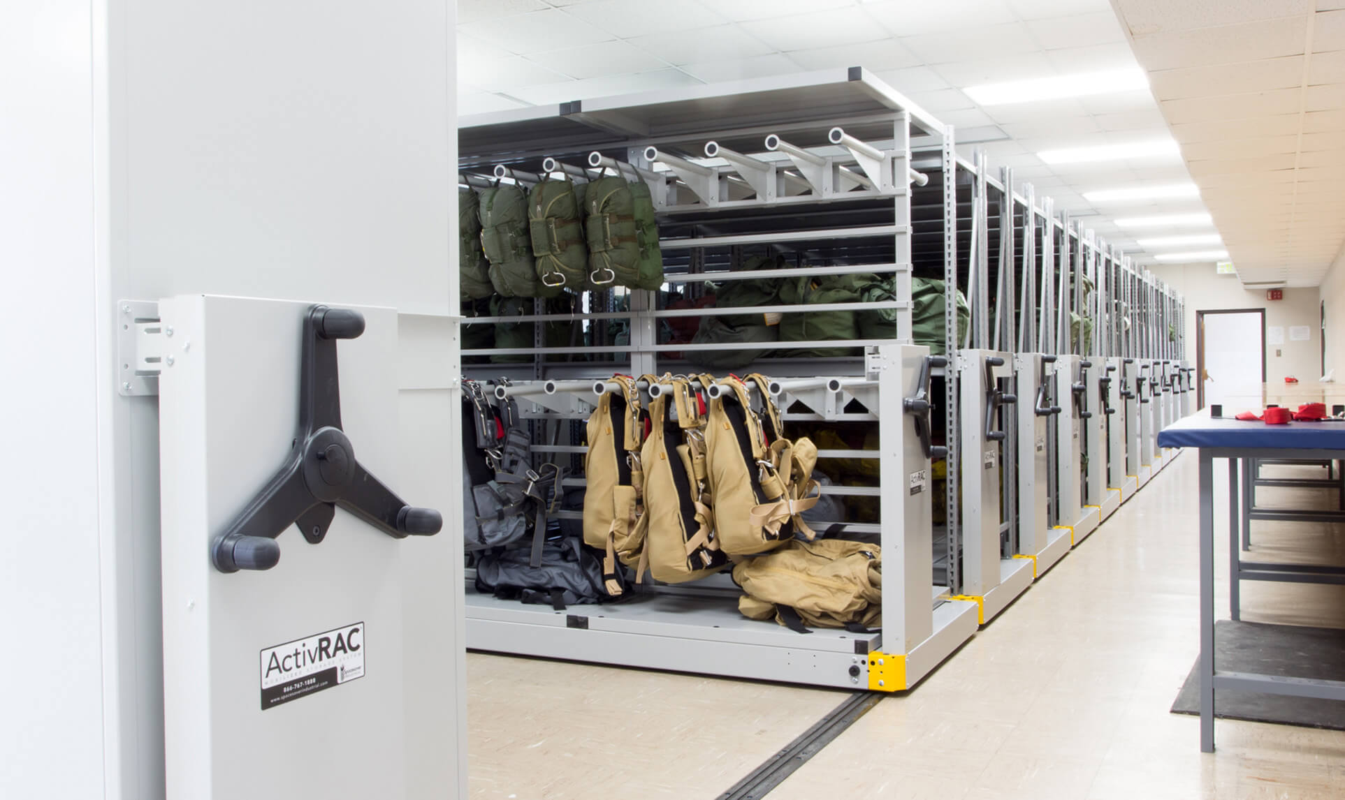 Military Storage - Parachute storage on cantilever racks