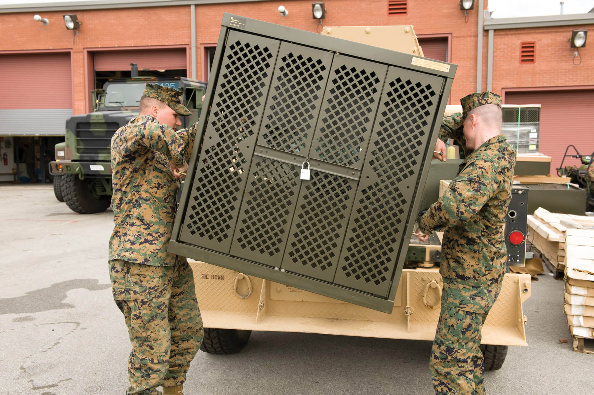 Transportable weapons storage on military base