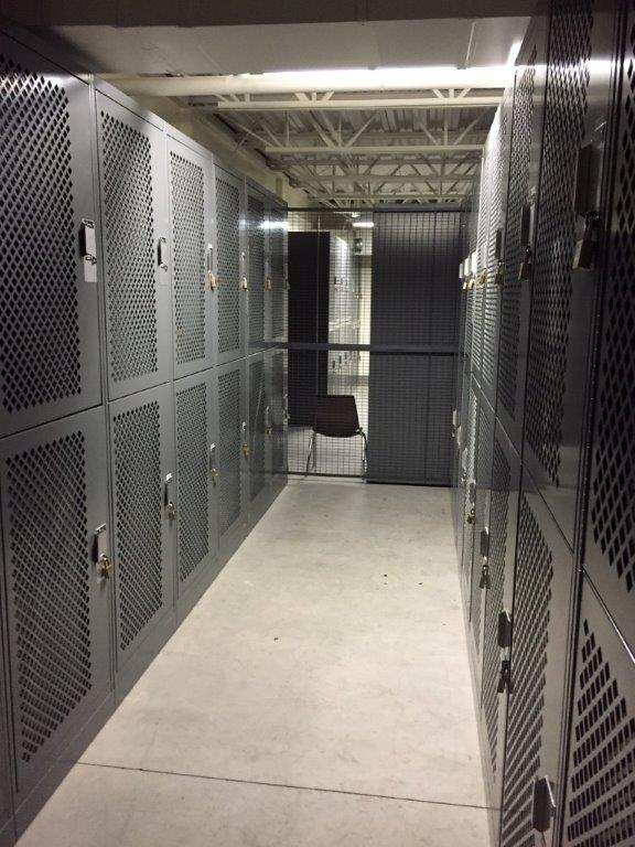 Lockable gear locker storage at Idaho Army National Guard