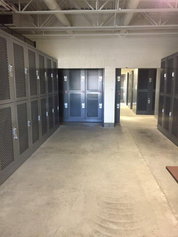 Mesh doors on gear lockers for visibility at Idaho Army National Guard