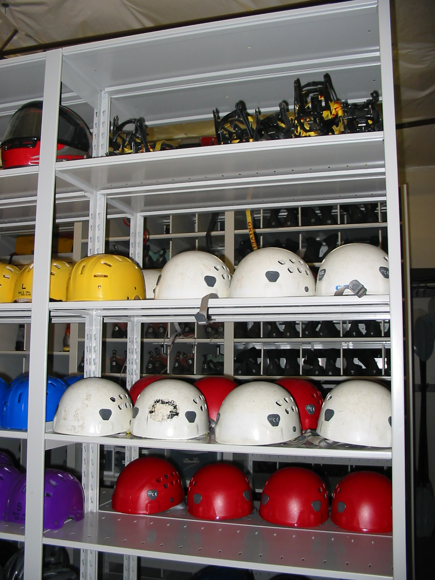 Helmet storage on shelves at Outdoor Resource Center on Brigham University Campus