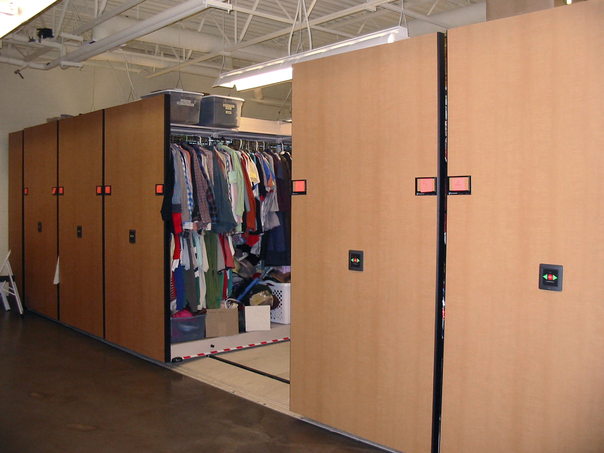 Prop and costume storage on powered mobile at Brigham Young University Performing Arts Center