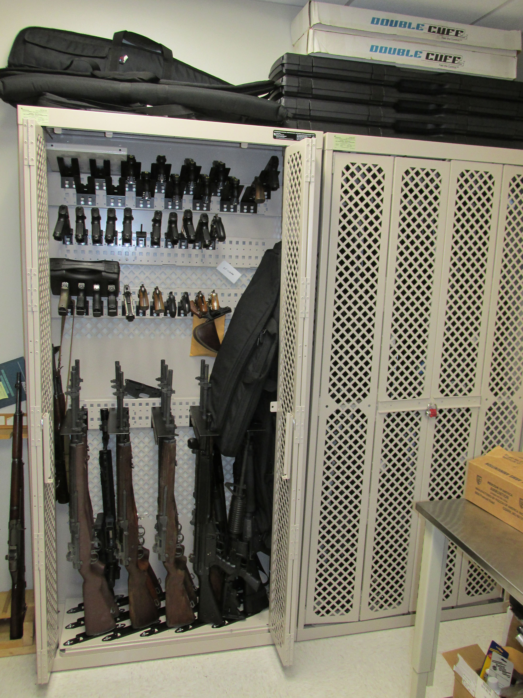 Visible and secure weapons storage in police department