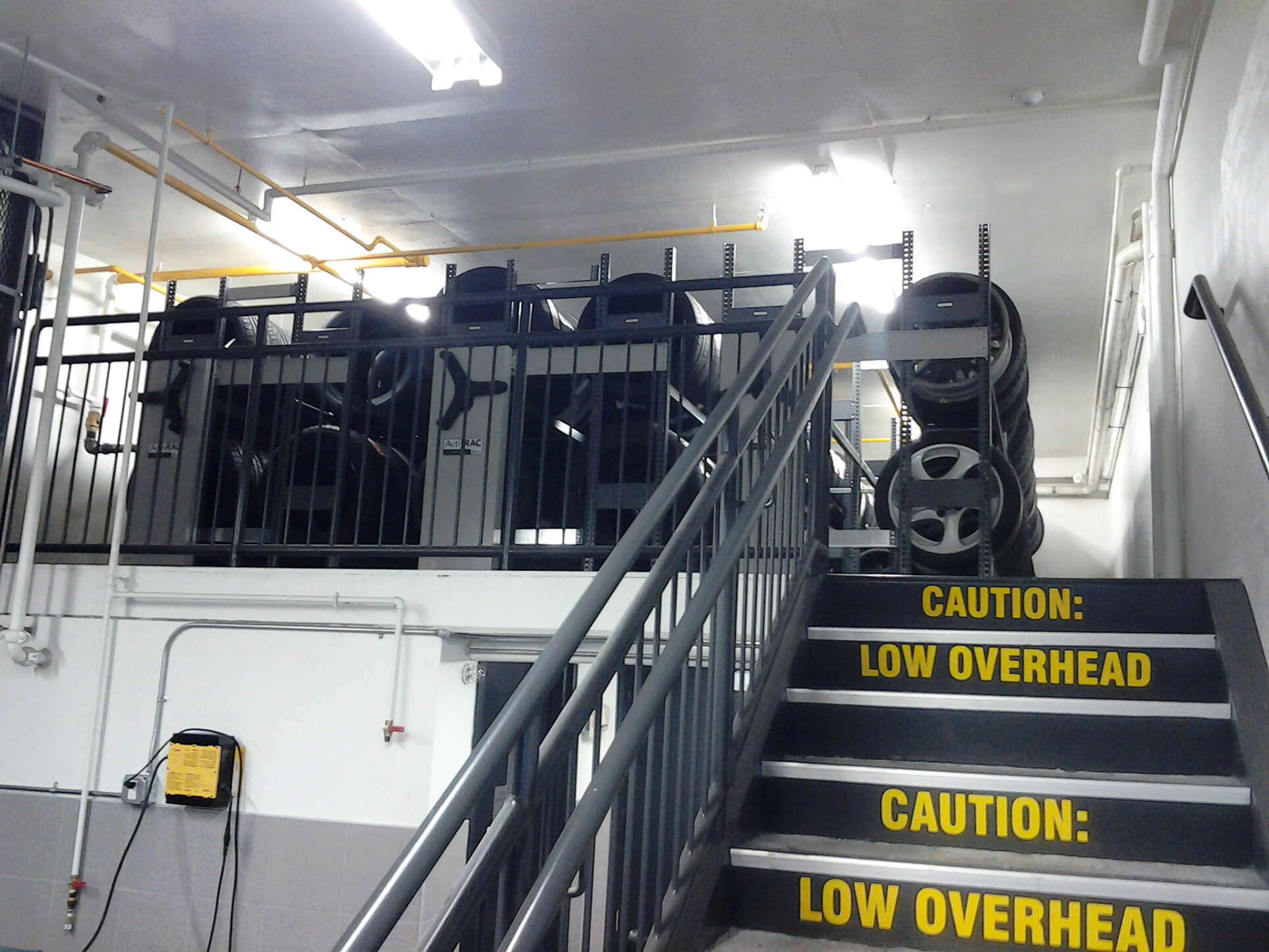 compact racking system of Tire storage up on mezzanine