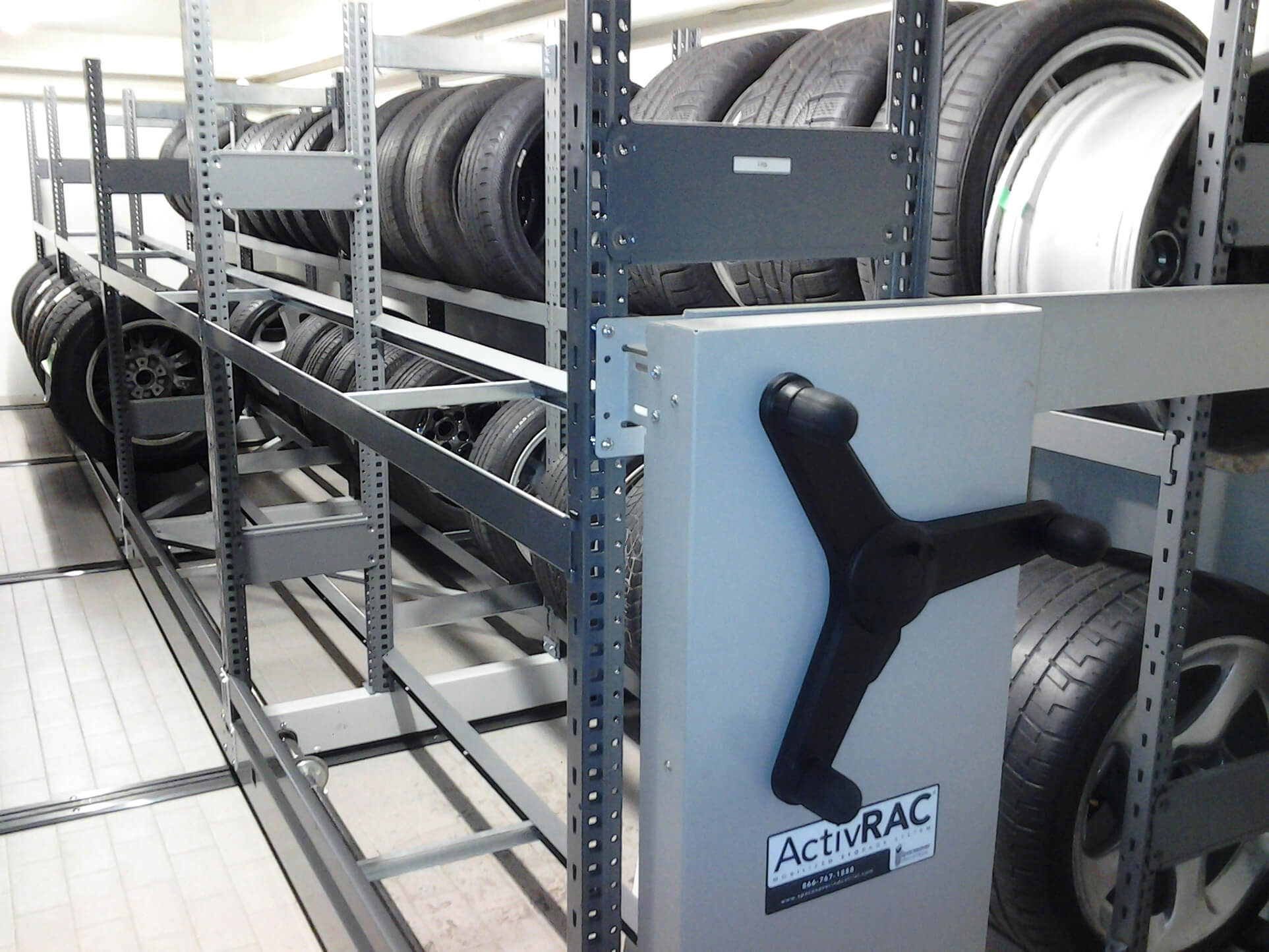 Tire storage on compact warehouse racking