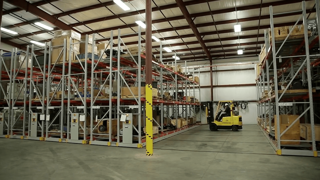 Turbine part storage on mobile warehouse racking