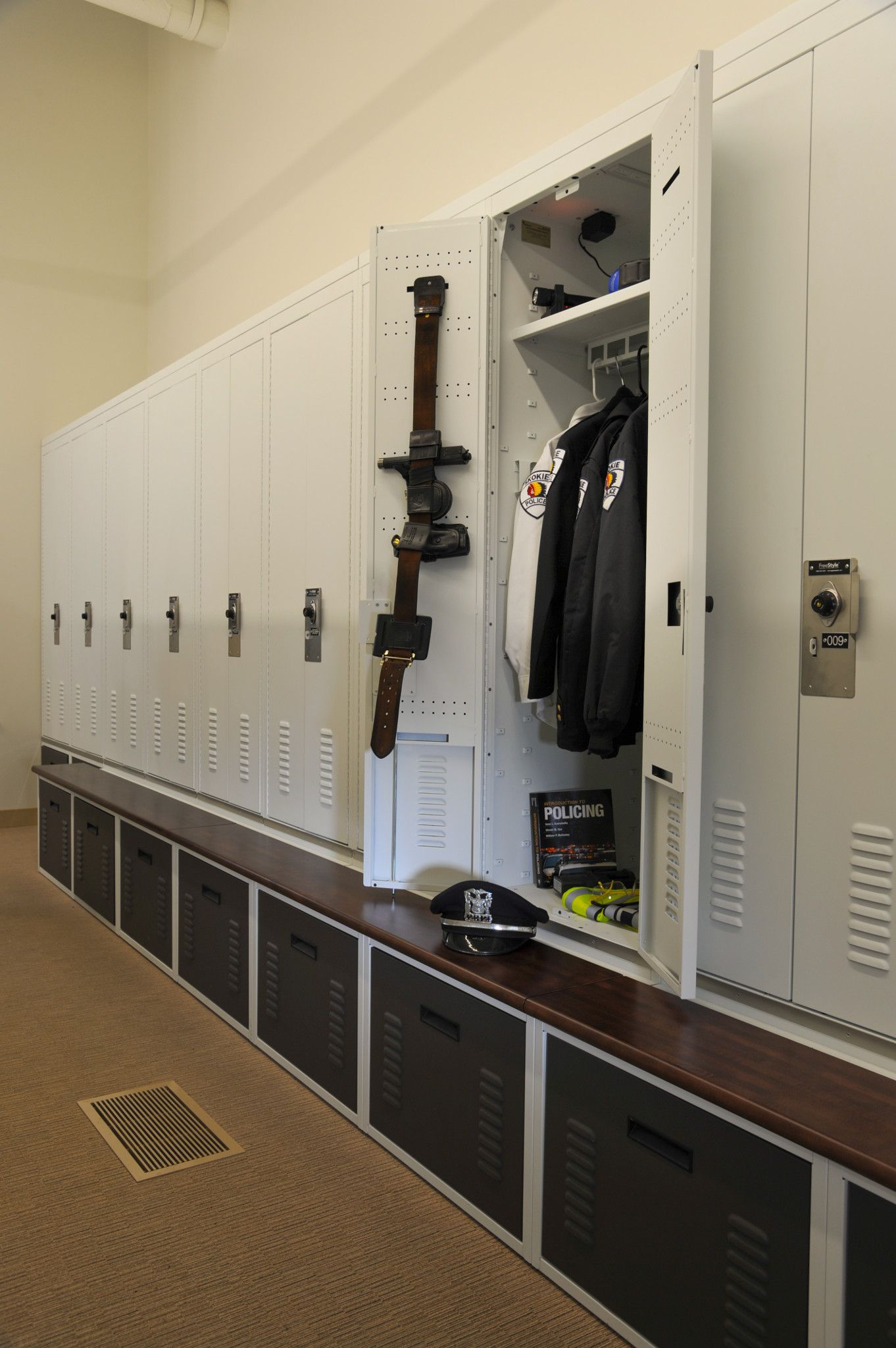Secure double door police gear locker