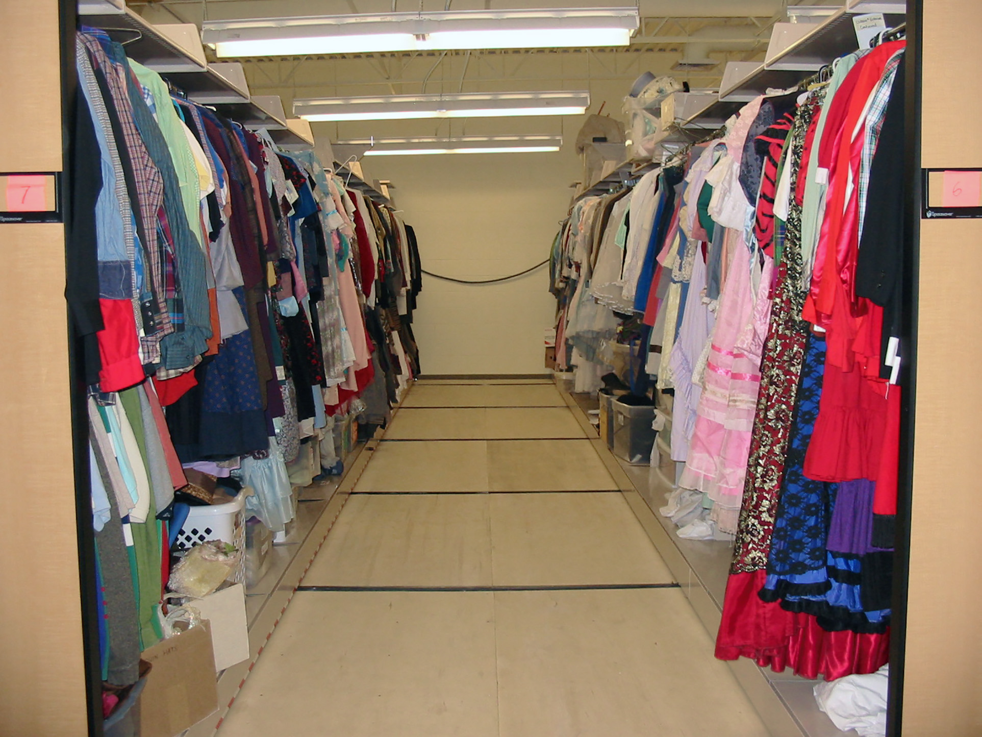 Costume storage on cantilever shelving at Brigham Young University Performing Arts Center
