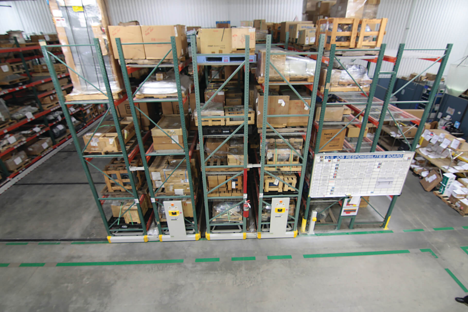 Car part storage on warehouse mobile racking