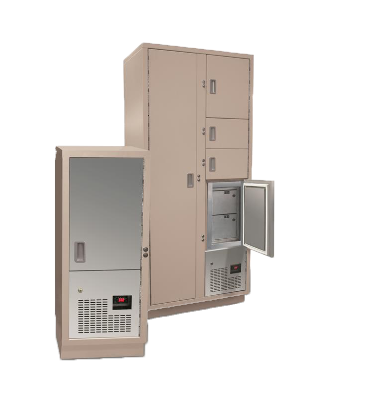 Evidence storage refrigerator locker in cabinet and stand alone