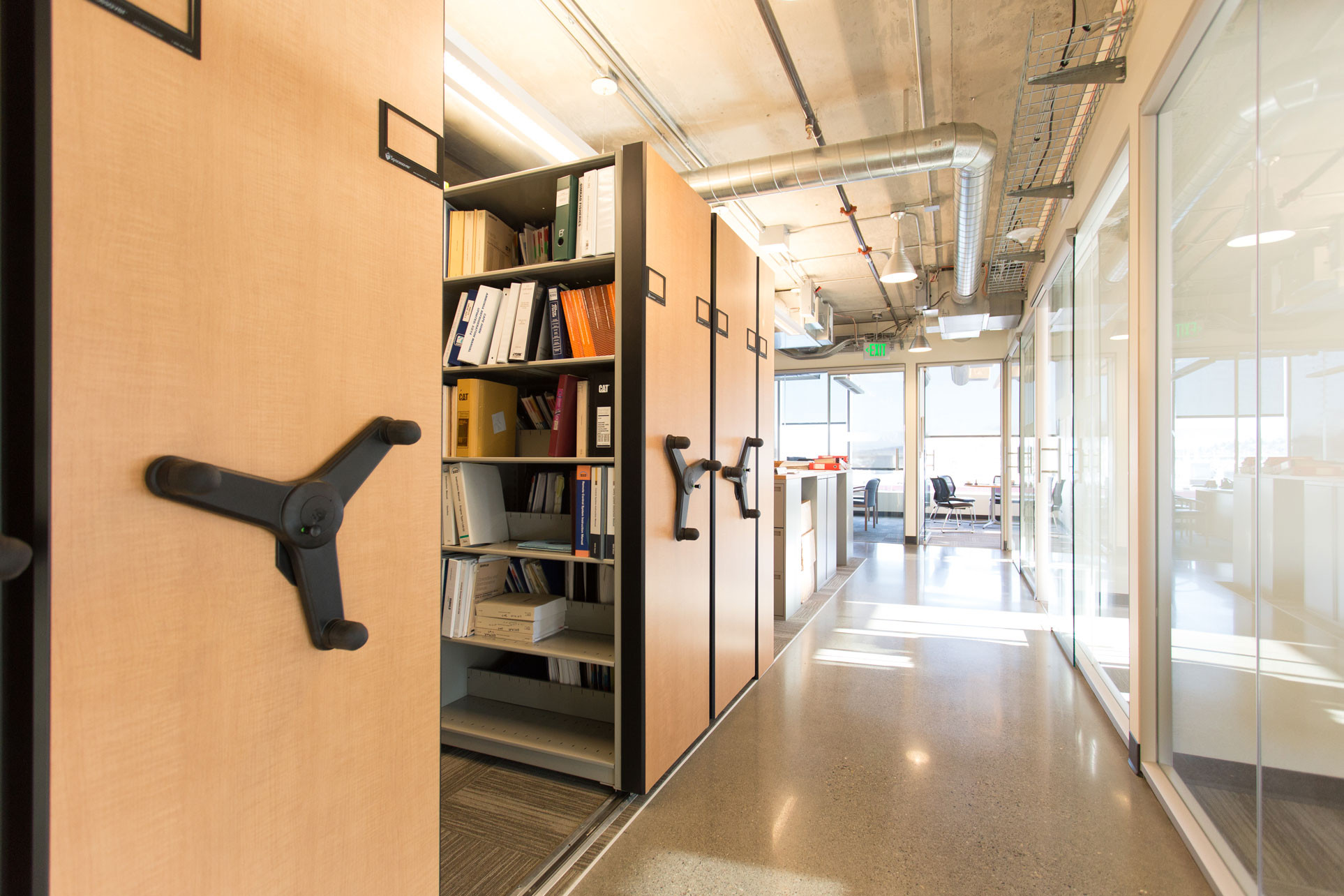 High Density Mobile shelving system in office space