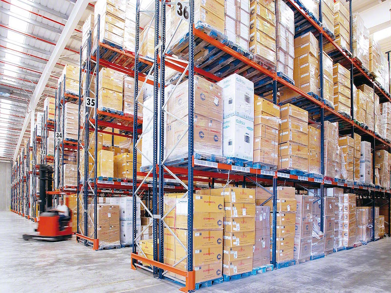 pallet racking in a warehouse storing various goods