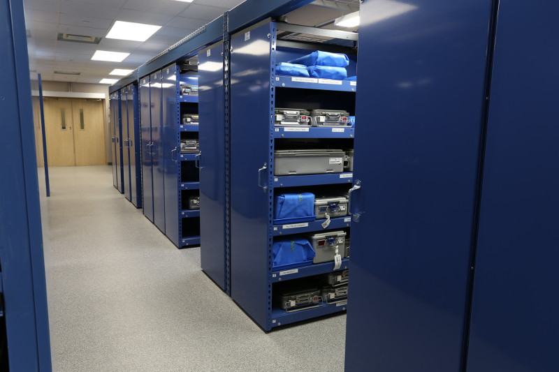 Levpro rail-less mobile storage system in a healthcare facility