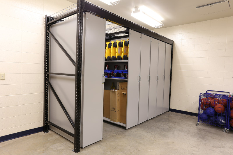Levpro rail-less mobile storage system for athletic equipment storage