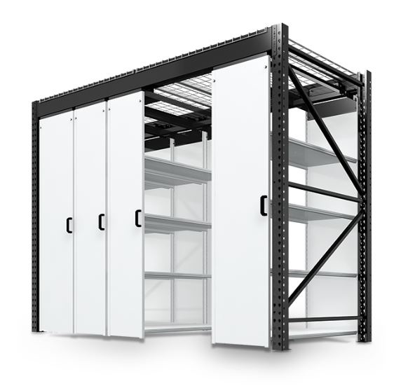 LEVPRO rail-less mobile storage shelving in back of house office location