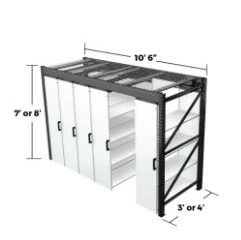 series 10 levpro rail-less mobile storage system for medium size spaces