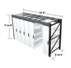 Levpro series 12 rail-less mobile storage system for larger warehouse applications