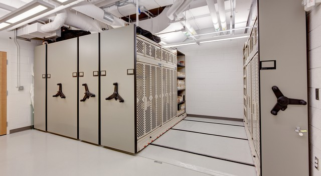 weapon storage on high density mobile shelving in public safety facility