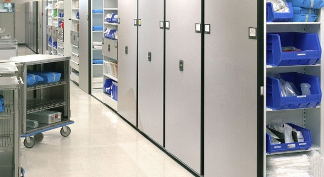 compact mobile shelving for sterile supply in medical facility