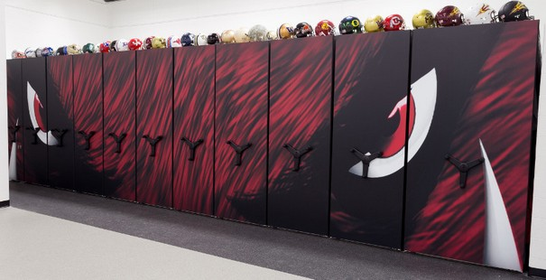 Athletic Mobile Shelving System storing athletic equipment