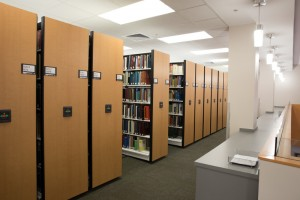 Powered mobile shelving in library's public areas (1)