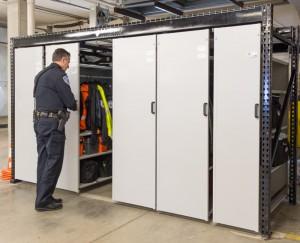LEVPRO rail-less mobile shelving for police equipment