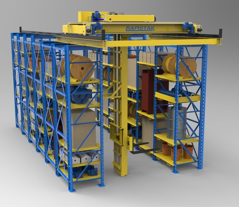 Industrial stacker crane for warehouse storage