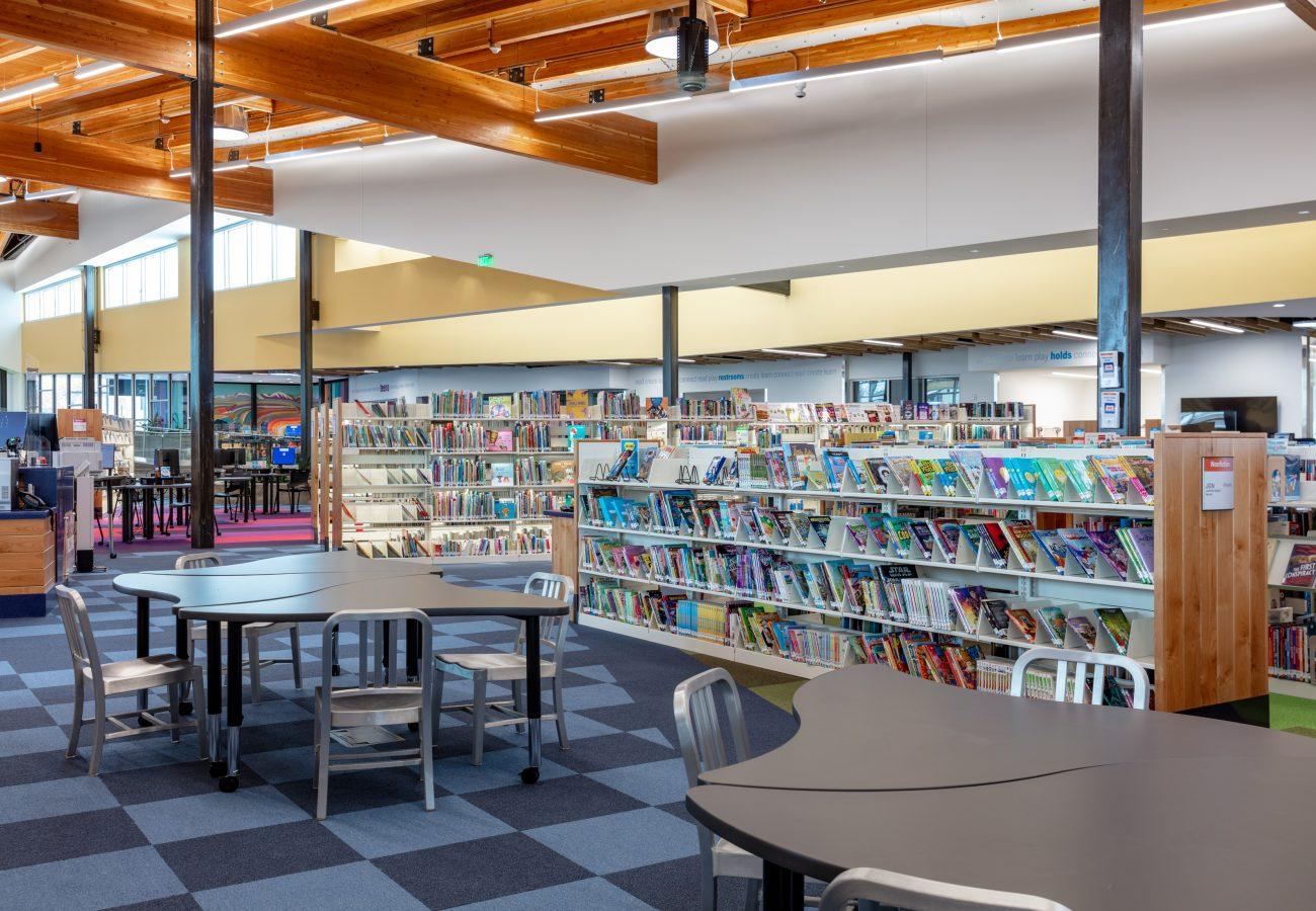 Library shelving at Kearns Library