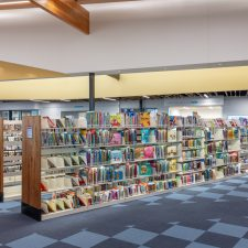 library shelving in kearns library