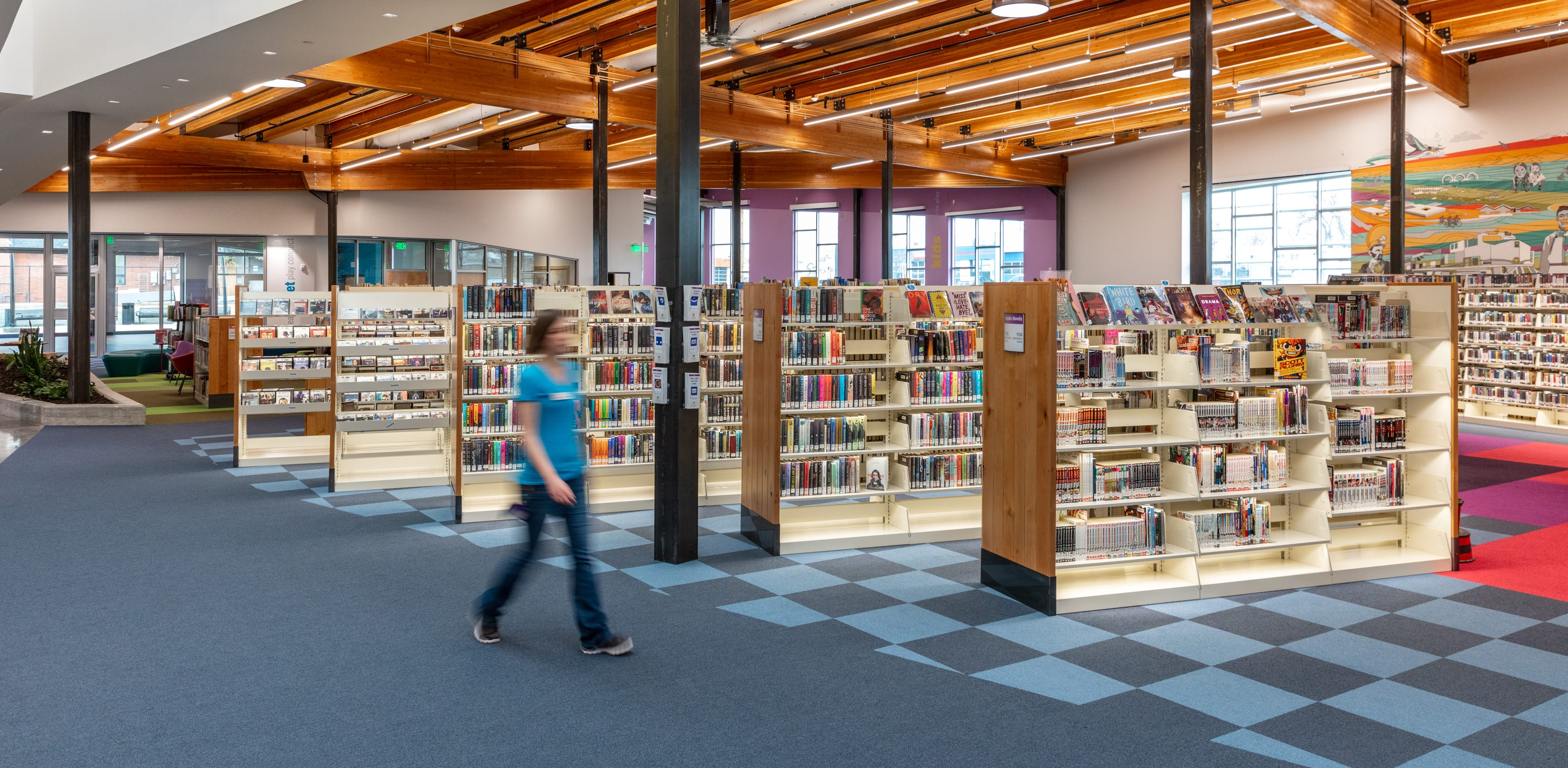 library shelving with lighting