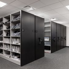 high density mobile system storing football equipment at Las Vegas Raiders stadium
