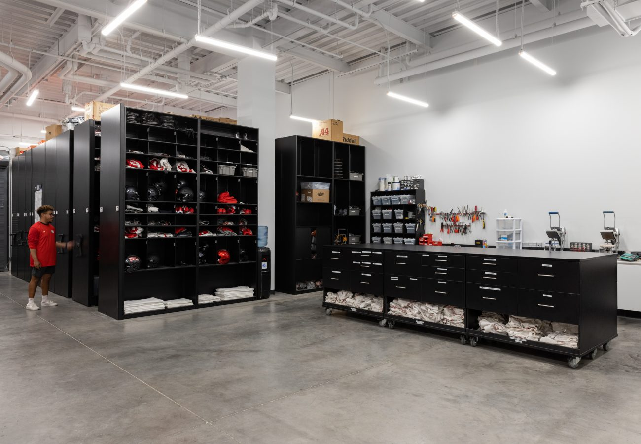 UNLV Football Equipment storage room with high density mobile system