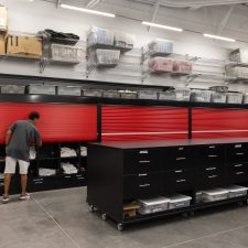 static shelving with tambor doors at UNLV Football Facility