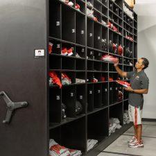 High Density Mobile System storing football equipment for UNLV Football Team